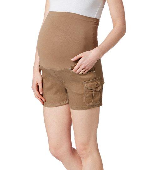 040ddec7a love this product Bella Vida Khaki Over-Belly Maternity Shorts