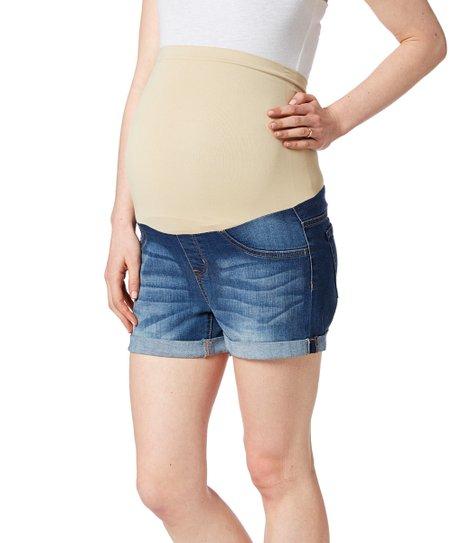 f72b96e40 love this product Bella Vida Dark Blue Denim Nude-Band Over-Belly Maternity  Shorts