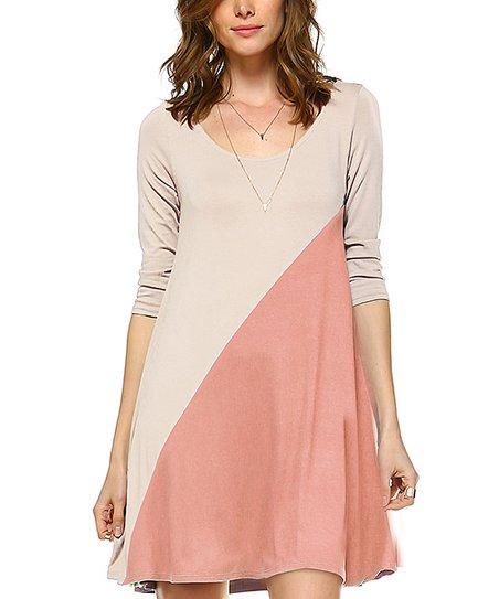 Solo La Fe Blush Color Block Three-Quarter Sleeve Dress - Women  1169e7f10