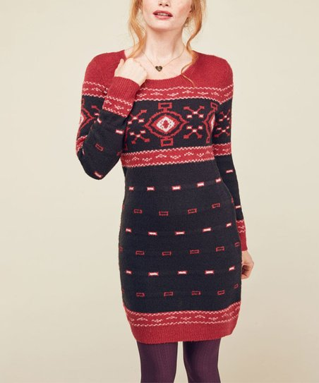 08350e0e07 love this product Red   Navy Apple Cider Toast Sweater Dress - Plus Too