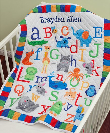 Personalized Planet Primary Alphabet Personalized Quilt