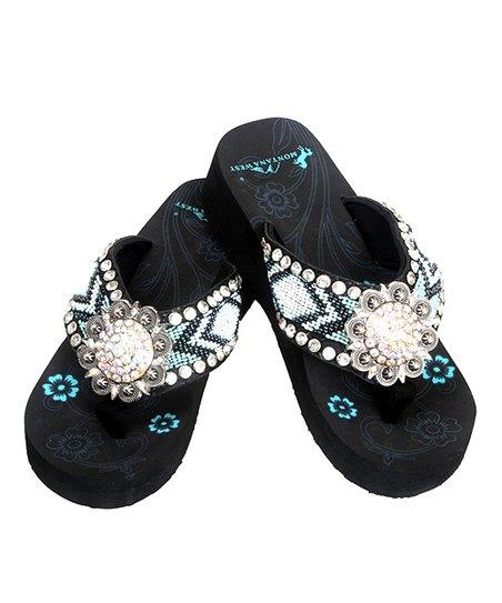 f9db5db46ea49 Montana West Black & White Beaded Floral Concho Wedge Flip-Flop - Women