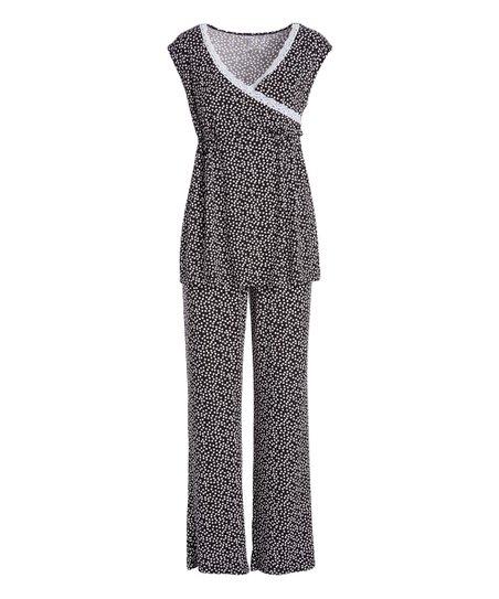 a36ffa258cdc0 Lamaze Maternity Intimates Black & White Maternity/Nursing Pajama ...