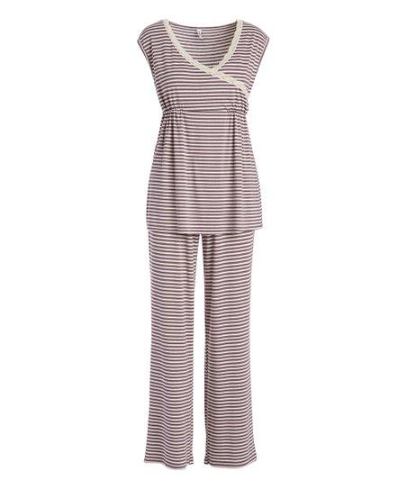50754aecbb7a1 Lamaze Maternity Intimates Brown & White Maternity/Nursing Pajama ...