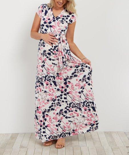 a2c026d929c0e love this product PinkBlush White Floral Wrap Maternity Nursing Maxi Dress
