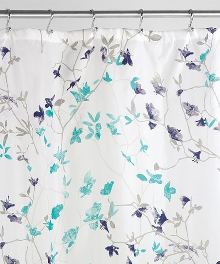 Teal Navy Twiggy Floral Shower Curtain