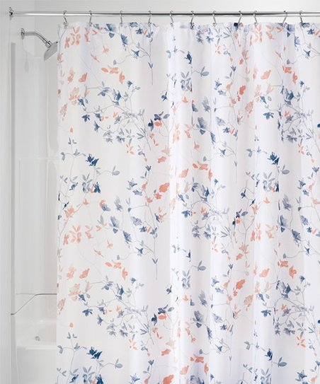 IDesign Navy Coral Twiggy Floral Shower Curtain