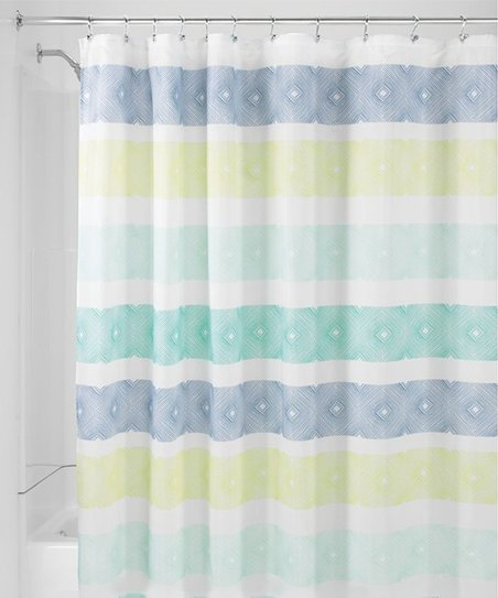 Blue Lime Textured Stripe Shower Curtain