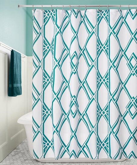 Emerald Deco Geo Shower Curtain