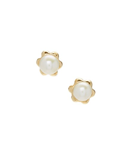 Pearl 14k Gold Baby Round Stud Earrings