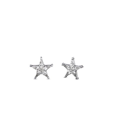 Diane Loren 4-mm 14k White Gold Star Stud Earrings With Swarovski ... 432734fd81