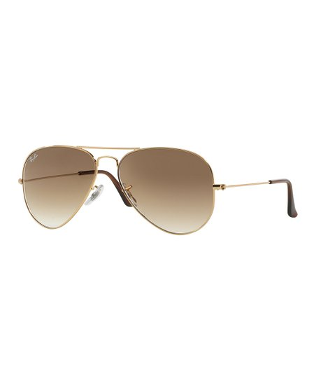 d0d1a2aaf Ray-Ban Gold & Brown Gradient Aviator Sunglasses - Adult   Zulily
