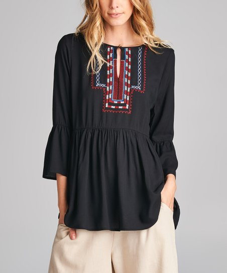 5457893fe0dad0 love this product Black Embroidered Bell-Sleeve Peasant Top - Women