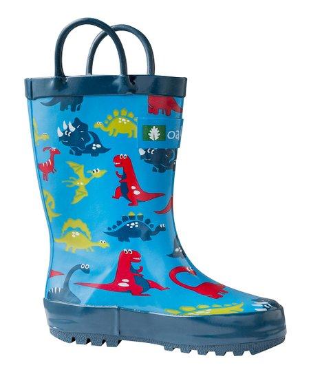 Oaki Blue Dinosaur Rain Boot - Kids