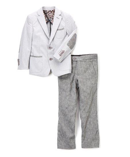 0268d540d love this product Gray & Black Tonal Two-Piece Linen Suit - Toddler & Boys