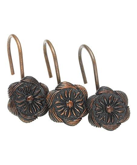 Bronze Auburn Flower Shower Curtain Hook