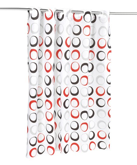 Circles Polyester EZ ONR Shower Curtain In White Black Red