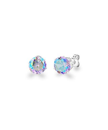 Aurora Borealis Round Stud Earrings With Swarovski Crystals