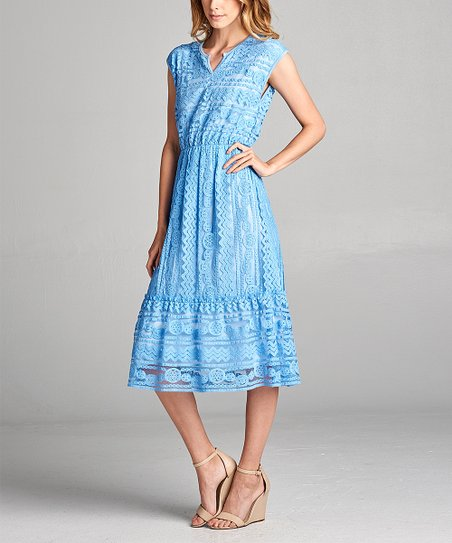 Spicy Mix Sea Blue Lace Midi Dress