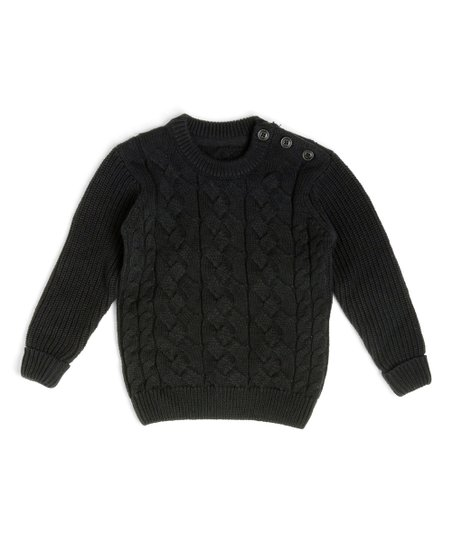 08ae86176763 Littlest Prince Couture Black Cable-Knit Shoulder-Button Sweater ...