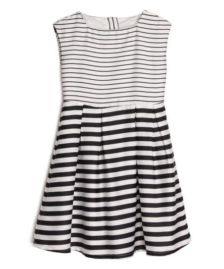 40bac35645 love this product Black & White Stripe Sleeveless A-Line Dress - Toddler &  Girls