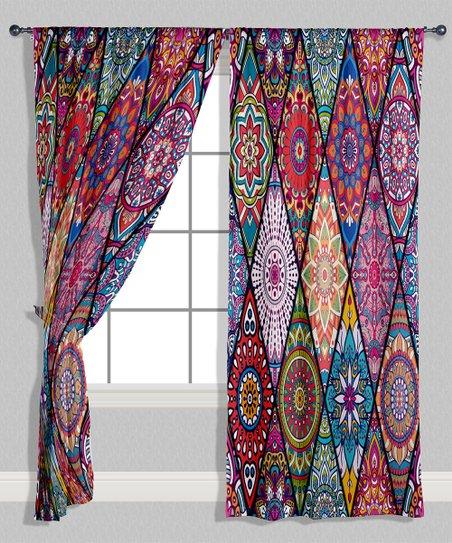 Red U0026 Purple Geometric Curtain Panel   Set Of Two