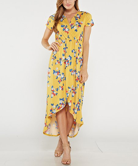 1bf0a704ec J-Mode USA Los Angeles Yellow Floral Tulip-Hem Maxi Dress - Plus ...