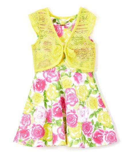 3b8aa5fff802 Nannette Girl Yellow Floral A-Line Dress   Cardigan - Toddler
