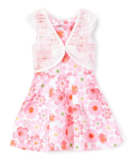 715952edcb4c Nannette Girl Pink Floral A-Line Dress   Cardigan - Toddler