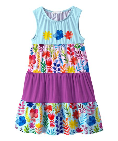 11d7ddac9283f love this product Blue & Purple Flower & Leaf Tiered Dress - Toddler & Girls