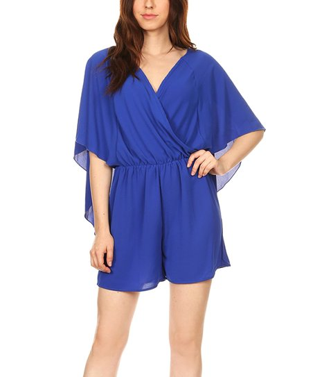 64a98412f01 love this product Royal Blue Surplice Cape Romper - Women
