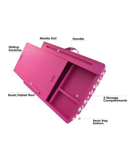 Icozy Pink White Polka Dot Portable, Icozy Lap Desk With Storage Compartments