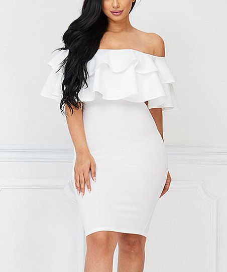 40ca2112df67 love this product Off-White Ruffle Off-Shoulder Dress