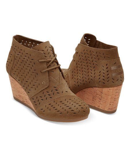 cc831478d6aa love this product Toffee Perforated Leaf Suede Desert Wedge Bootie - Women