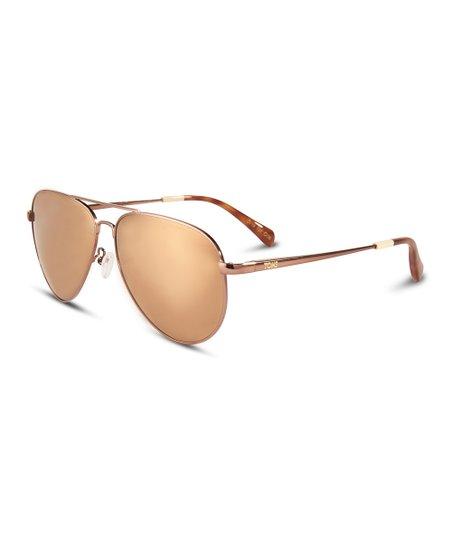 5dc273db67f7 TOMS Ash Brown & Honey Tortoise Maverick Mirrored Sunglasses | Zulily