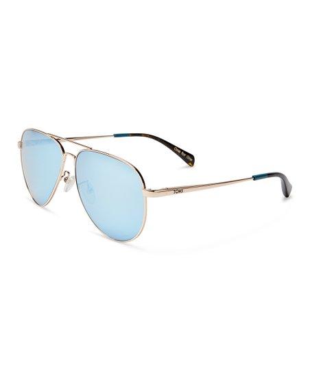 fda1b410f91e TOMS Goldtone & Deep Blue Maverick Mirrored Sunglasses - Adult | Zulily