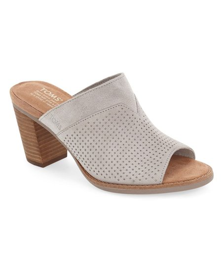 1605ee5507b TOMS Drizzle Gray Perforated Suede Majorca Mule - Women