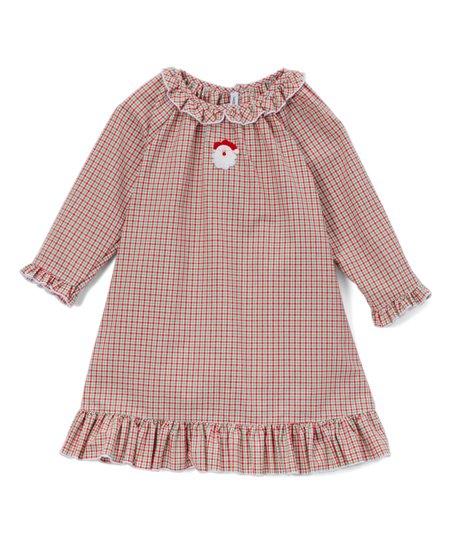 abca8d1f9ca1 Sweet Dreams Red & Green Plaid Santa Nightgown - Infant & Girls   Zulily