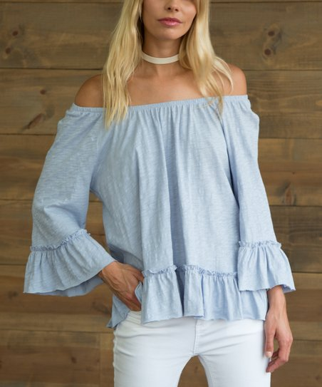 5afe5bffe23 love this product Light Blue Ruffle-Hem Off-Shoulder Top