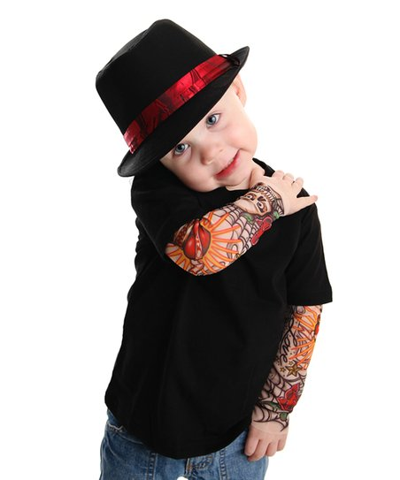 a626d8785 TotTude Black Rockabilly Tattoo Sleeve Layered Tee - Infant ...