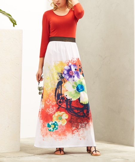 ac6475e24f love this product Red & White Floral Maxi Dress - Women