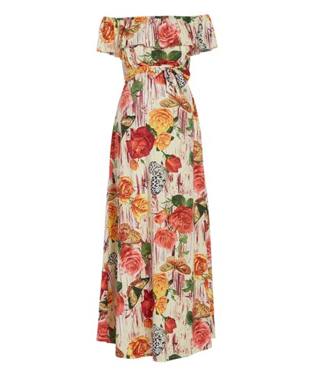 012410964c3c love this product Pink & Yellow Floral Off-Shoulder Maternity Maxi Dress