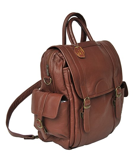 Amerileather Brown Three-Way Leather Backpack  db49624ce49e8