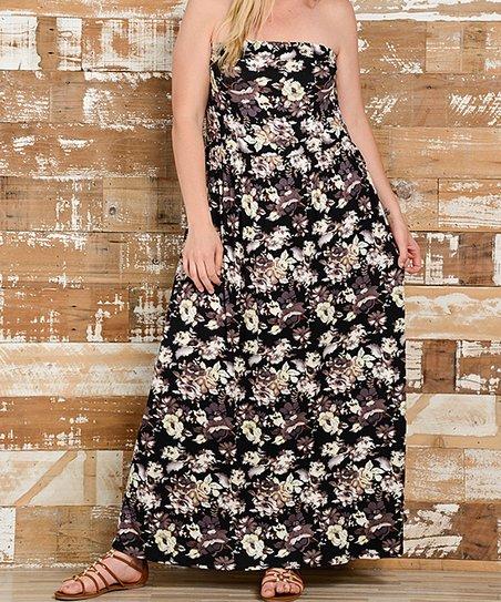 ac9cc32f0aeef Bellino Black & Brown Floral Strapless Maxi Dress - Plus | Zulily