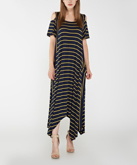 933b8050ba0 love this product Navy & Yellow Stripe Cutout Handkerchief Maxi Dress -  Plus Too