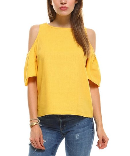 ccecaf351aa0f0 love this product Yellow Linen-Blend Cold-Shoulder Top
