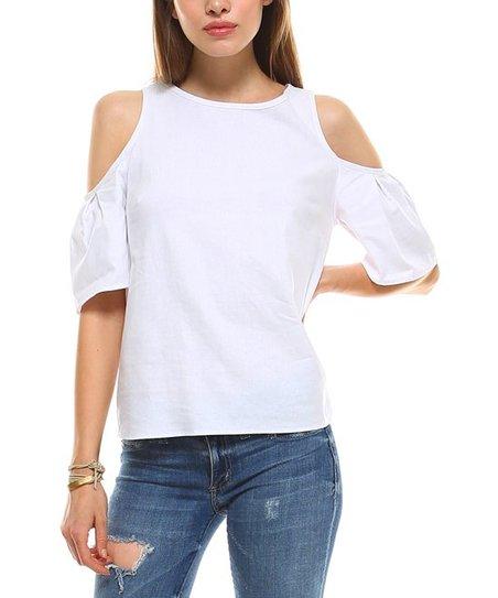 e330ef8a041d04 love this product White Linen-Blend Cold-Shoulder Top