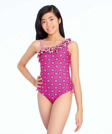 bf4fd1a322e Breaking Waves Pink Twining One-Piece - Girls | Zulily