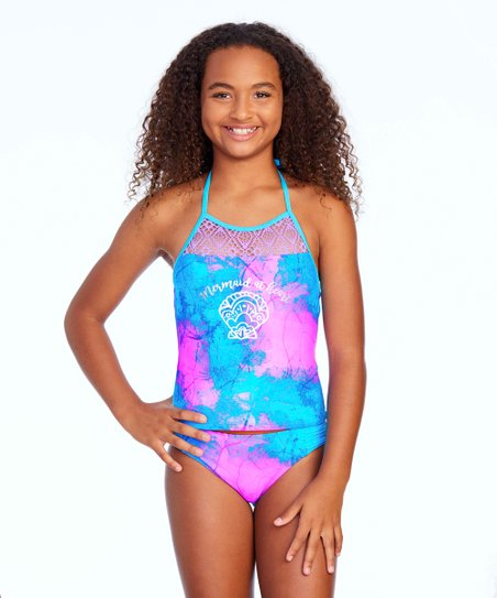 24656a93e54 love this product Blue & Pink Off-Duty Mermaid Tankini Top & Bottoms - Girls