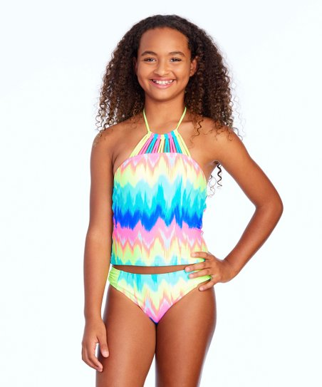 7bd157c621479 Breaking Waves Rainbow Ikat Girls Tankini Top & Bottoms - Girls | Zulily